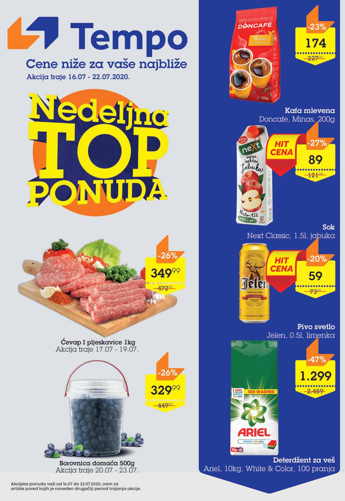 TEMPO Akcija - NEDELJNA TOP PONUDA  - Super sniženja do 22.07.2020.